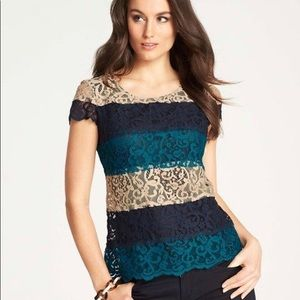 Ann Taylor Womens Tiered Blue Lace Top Small